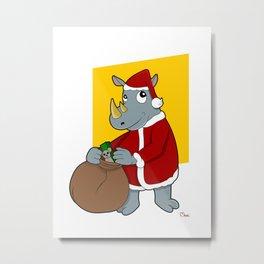 Christmas Rhinoceros  Metal Print