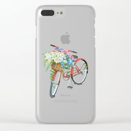 Vintage Red Bicycle with Flowers Clear iPhone Case