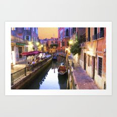 Sunset Alley In Venice Italy Art Print