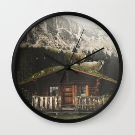 Sheep on the roof Wall Clock