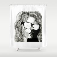 no face Shower Curtains featuring FACE by ALICE-CAT