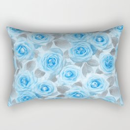 Painted Roses in Blue & Grey Rectangular Pillow