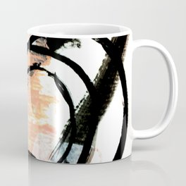 It comes and goes - a black and white abstract mixed media piece with pink details Coffee Mug