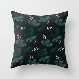 Watercolor Christmas pine branches pattern Throw Pillow