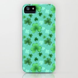 Lucky Clover Pattern Teal and Green iPhone Case