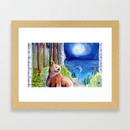 Bear and the Moon Framed Art Print