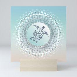Beach Gradient Turtle Mandala Mini Art Print
