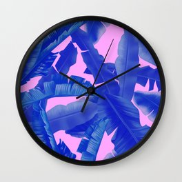 tropical banana leaves pattern,pink,blue Wall Clock