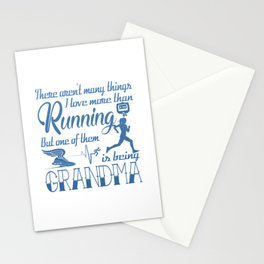 Running Grandma Stationery Cards