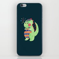 trex iPhone & iPod Skins featuring Green Dino by haidishabrina