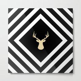 Abstract geometric pattern - Deer - black, beige and white. Metal Print