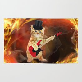 rocker cat in flames Rug