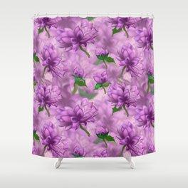 Violet Oriental Style Floral Spray Shower Curtain