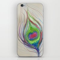peacock feather iPhone & iPod Skins featuring Peacock Feather by Aries Art