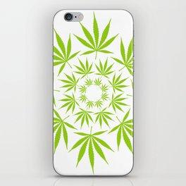 Cannabis Leaf Circle (White) iPhone Skin