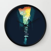sun and moon Wall Clocks featuring I Want My Blue Sky by Picomodi