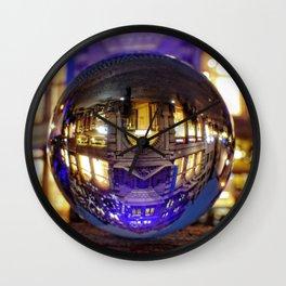 Winter scene through the crystal ball  / Glass Ball Photography Wall Clock