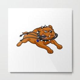 Bulldog mascot biting cables Metal Print