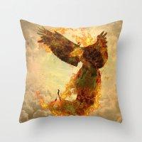 phoenix Throw Pillows featuring Phoenix by Barruf