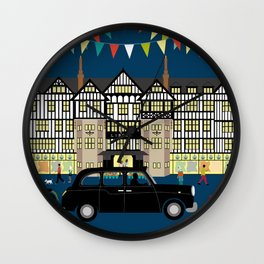 Art Print of Liberty of London Store - Night with Black Cab Wall Clock