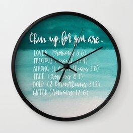 chin up (teal) Wall Clock