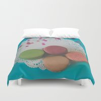 macarons Duvet Covers featuring Macarons by Jessica Torres Photography