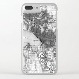 Vintage Map of Seattle Washington (1908) BW Clear iPhone Case
