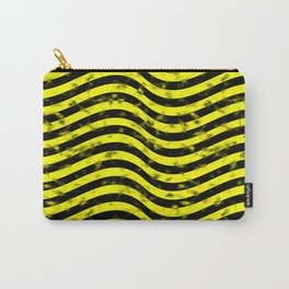 Wiggly Yellow and Black Speckle Pattern Carry-All Pouch
