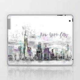 Modern Art NYC Manhattan Skyline | jazzy watercolor splashes Laptop & iPad Skin