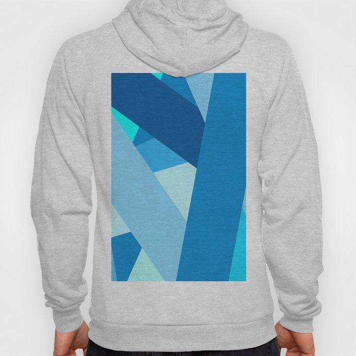 Retro Blue Mid-Century Minimalist Geometric Line Abstract Art Hoody