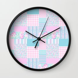 Roses and Butterflies Faux Patchwork Wall Clock