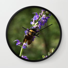 Bumble Bee on purple Wall Clock