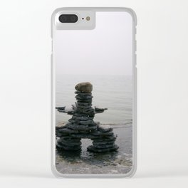 Stone Inukshuk on The Shore Looking Out Over Calm Water ~ A Meaningful Messenger Clear iPhone Case