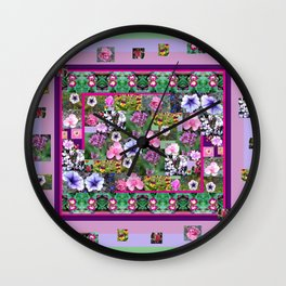 Rectangle and Flower Photos Composite - Decorative Wall Clock