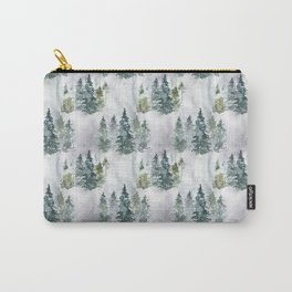 Watercolor forest green snow Christmas pine tree Carry-All Pouch