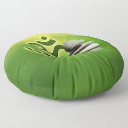 OM symbol  with zen stones on gentle green Floor Pillow