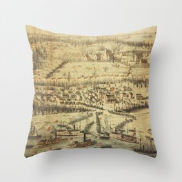 Old Roanoke Island Burnside Expedition Map (1862) Throw Pillow