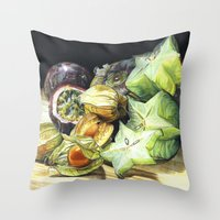 fruit Throw Pillows featuring FRUIT by Anne Hviid Nicolaisen