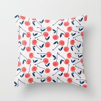 cherry Throw Pillows featuring Cherry  by Babiole Design