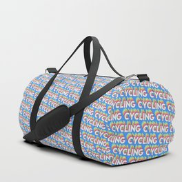 Cycling Trendy Rainbow Text Pattern (Blue) Duffle Bag