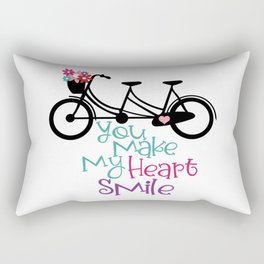 Bicycle with Flower Basket, You make my Heart Smile  Rectangular Pillow