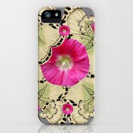 BLACK PATTERN BUTTERFLIES PINK HOLLYHOCKS ART iPhone Case