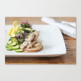 Summer Mushroom Salad Kitchen Art Canvas Print
