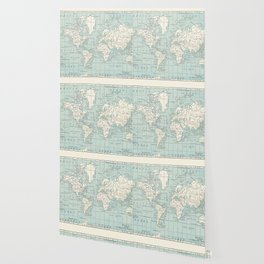 World Map in Blue and Cream Wallpaper
