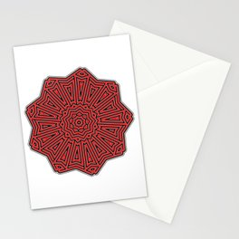Red And Black Optical Decorative Pattern Stationery Cards