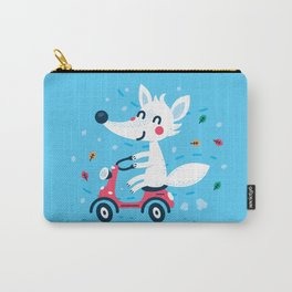 White Fox Riding Vespa Carry-All Pouch