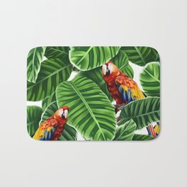tropical leaves macaw pattern Bath Mat