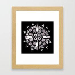 Cape Cod Mandala (white on black) Framed Art Print