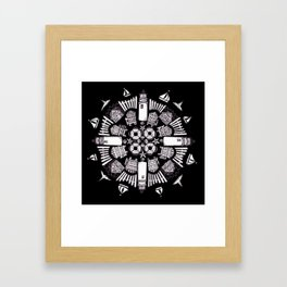 Cape Cod Mandala (white on black) Framed Art Print
