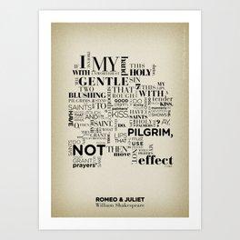 Romeo & Juliet typographic composition Art Print